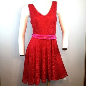 Express Fit & Flare Dress Lace Style 90210 Belt 6
